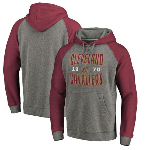 Cleveland Cavaliers Fanatics Branded Ash Antique Stack Tri Blend Raglan Pullover Hoodie