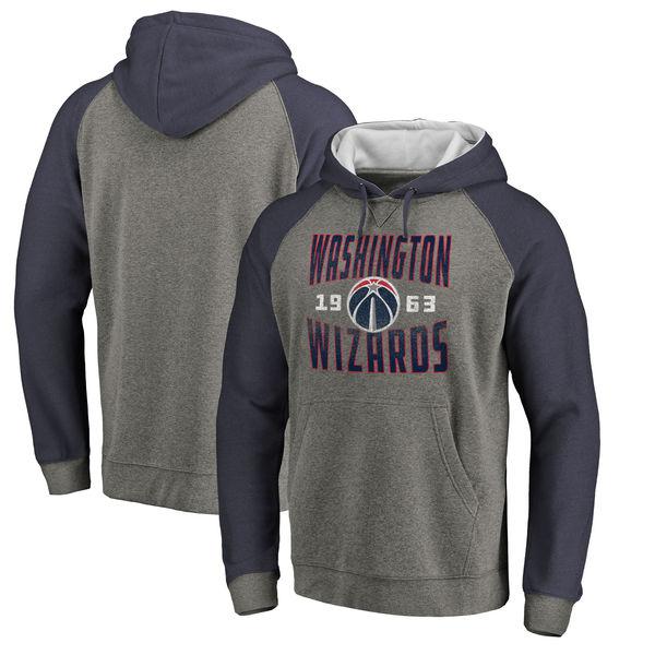 Washington Wizards Fanatics Branded Ash Antique Stack Tri Blend Raglan Pullover Hoodie