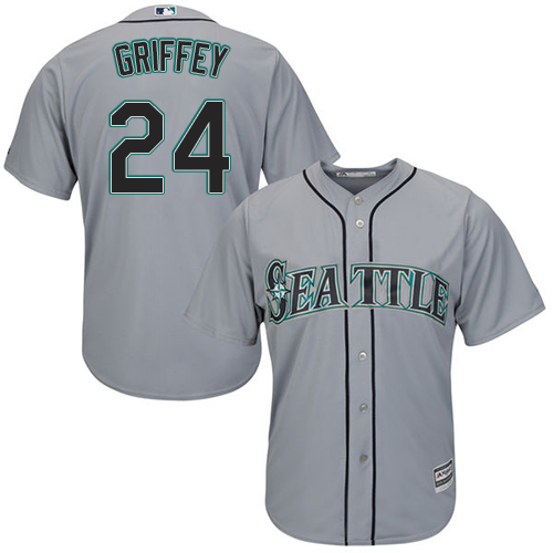 Mariners 24 Ken Griffey Jr. Gray Cool Base Jersey