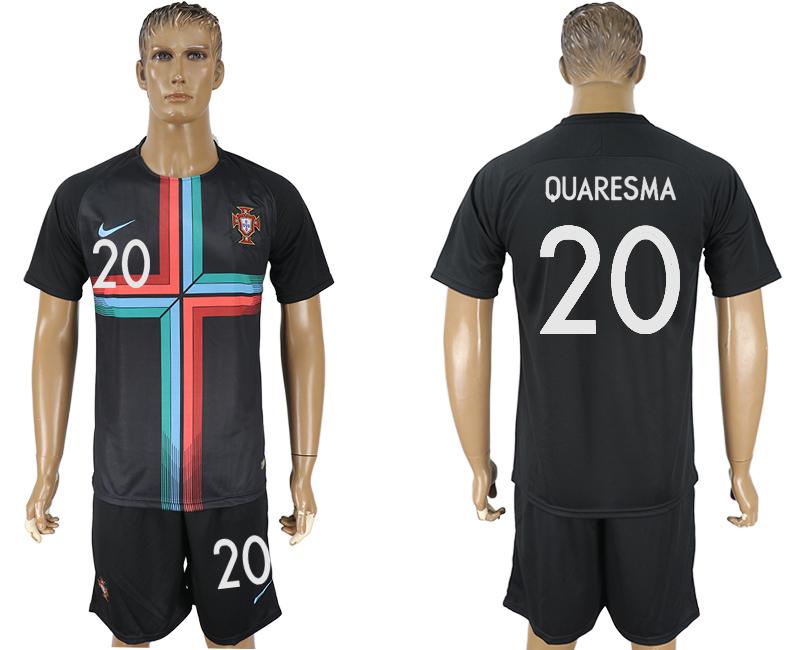 Portugal 20 QUARESMA Black Training 2018 FIFA World Cup Soccer Jersey