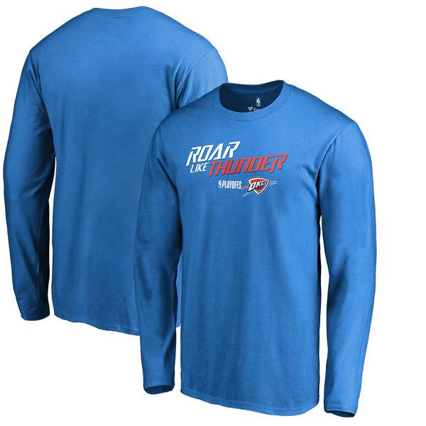 Oklahoma City Thunder Fanatics Branded 2018 NBA Playoffs Slogan Long Sleeve T-Shirt Blue