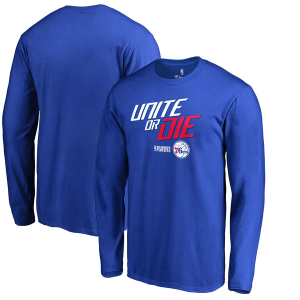 Philadelphia 76ers Fanatics Branded 2018 NBA Playoffs Slogan Long Sleeve T-Shirt Royal