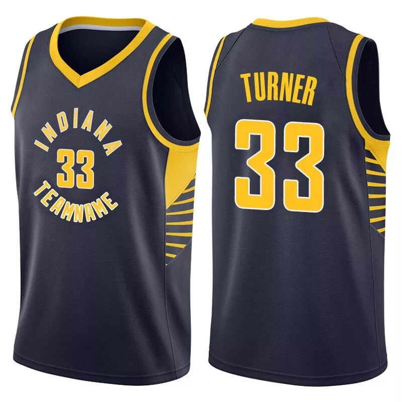 Pacers 33 Myles Turner Navy Fast Break Jersey