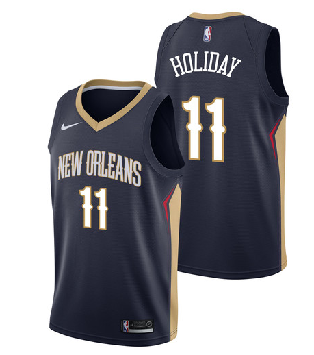 Pelicans 11 Jrue Holiday Navy Nike Swingman Jersey
