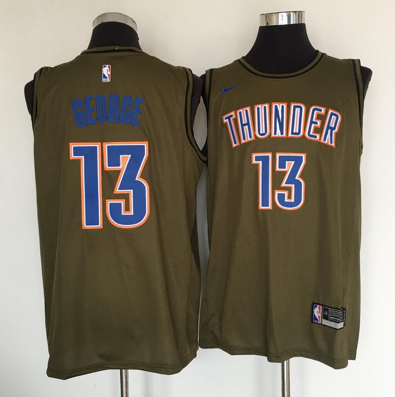 Thunder 13 Paul George Olive Nike Swingman Jersey