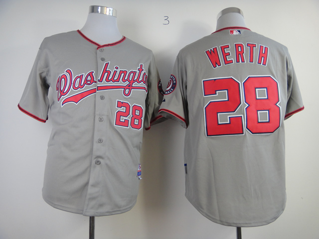 Nationals 28 Jayson Werth Gray Cool Base Jersey