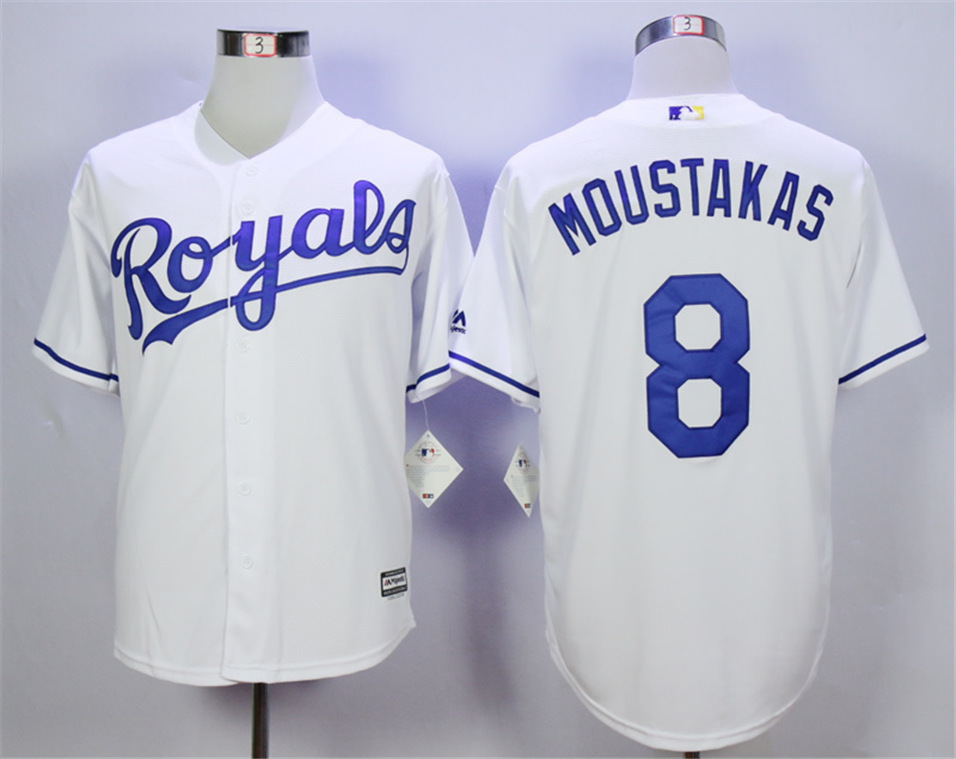 Royals 8 Mike Moustakas White Cool Base Jersey