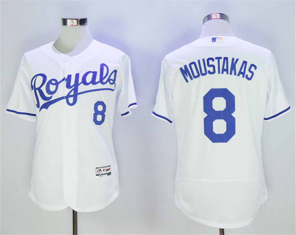 Royals 8 Mike Moustakas White Flexbase Jersey