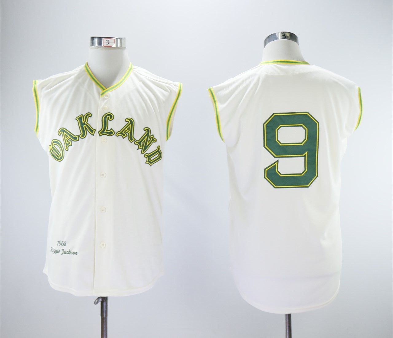 Athletics 9 Reggie Jackson Cream 1968 Throwback sleeveless Jersey