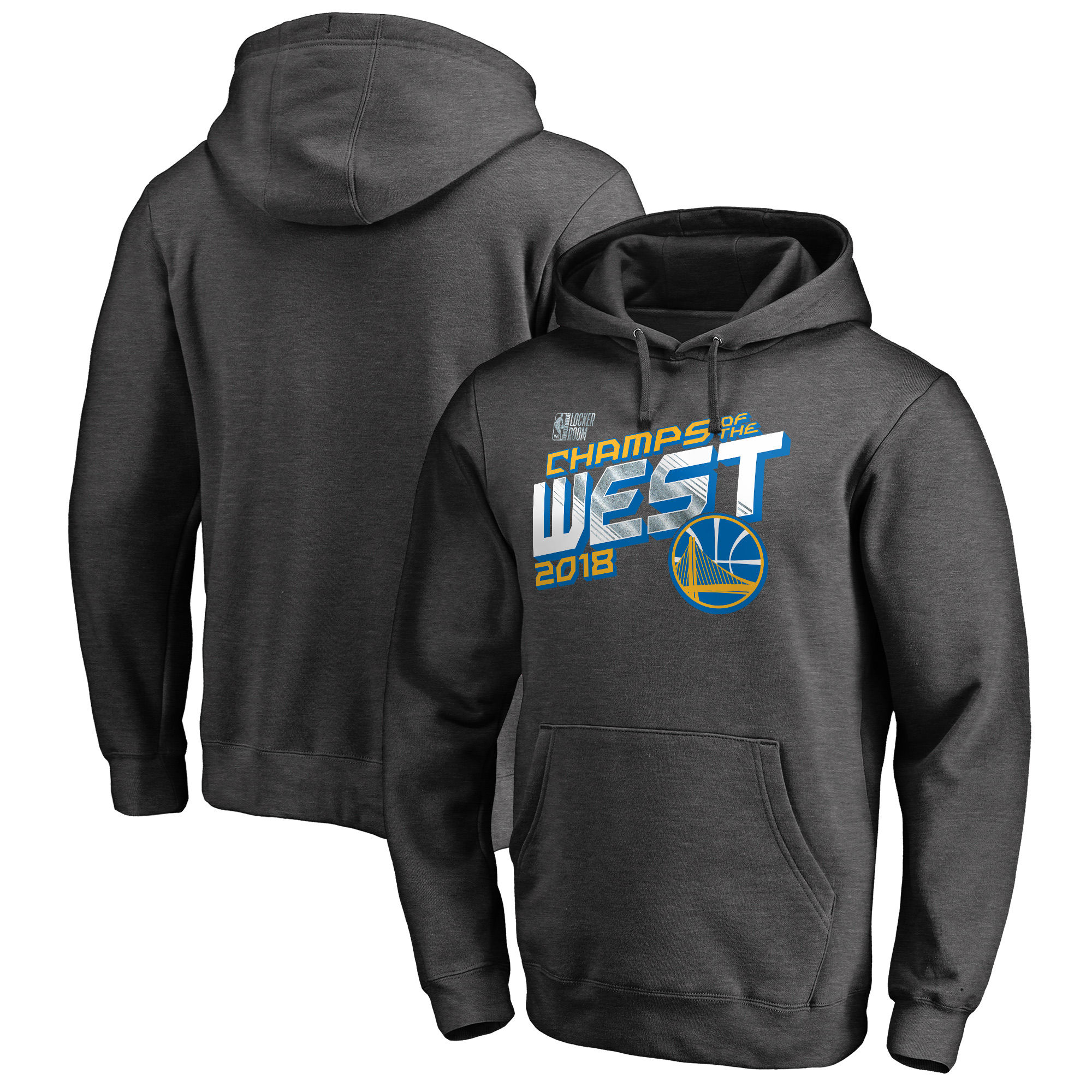 Golden State Warriors Fanatics Branded 2018 Western Conference Champions Locker Room Pullover Hoodie Heather Charcoal