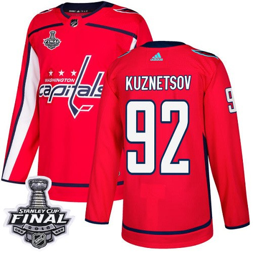 Capitals 92 Evgeny Kuznetsov Red 2018 Stanley Cup Final Bound Adidas Jersey