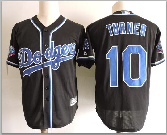 Dodgers 10 Justin Turner Black 60th Anniversary patch Cool Base Jersey