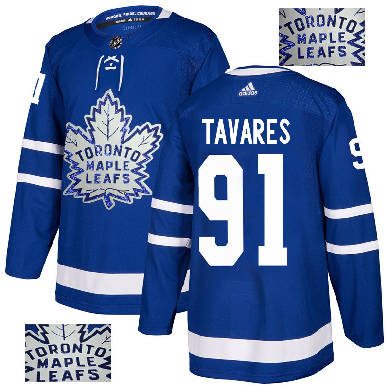 Maple Leafs 91 John Tavares Blue Glittery Edition Adidas Jersey