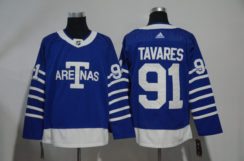 Maple Leafs 91 John Tavares Blue 1918 Arenas Throwback Adidas Jersey
