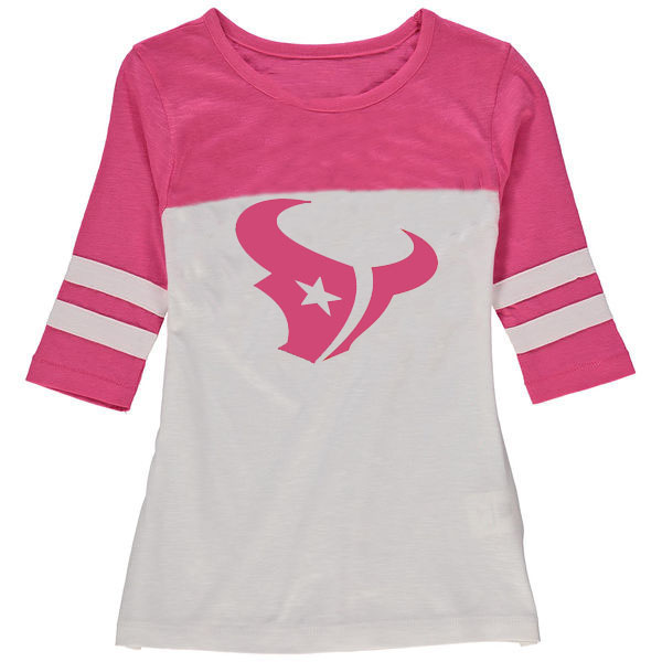 Houston Texans 5th & Ocean by New Era Girls Youth Jersey 34 Sleeve T-Shirt White/Pink