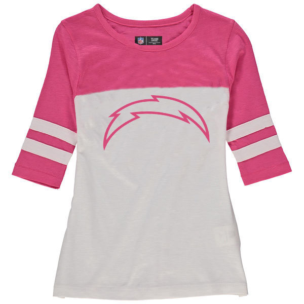 Los Angeles Chargers 5th & Ocean by New Era Girls Youth Jersey 34 Sleeve T-Shirt White/Pink