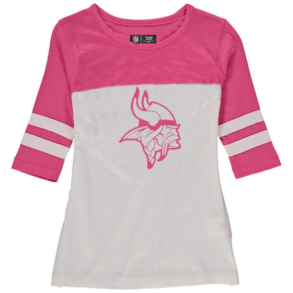 Minnesota Vikings 5th & Ocean by New Era Girls Youth Jersey 34 Sleeve T-Shirt White/Pink