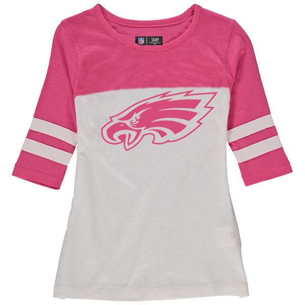 Philadelphia Eagles 5th & Ocean by New Era Girls Youth Jersey 34 Sleeve T-Shirt White/Pink