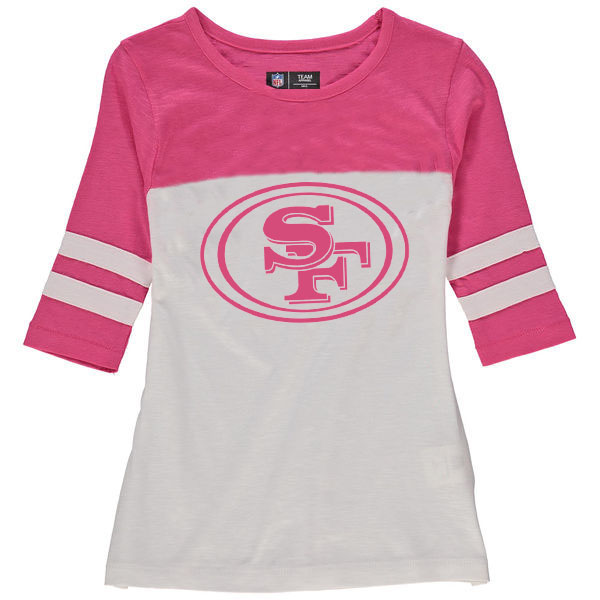 San Francisco 49ers 5th & Ocean by New Era Girls Youth Jersey 34 Sleeve T-Shirt White/Pink