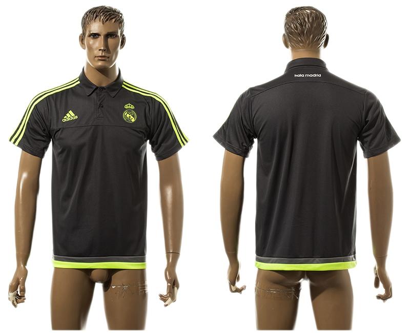 2015-16 Real Madrid Gray Soccer Polo Shirt
