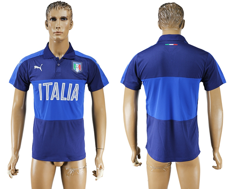 Italy Blue Soccer Polo Shirt
