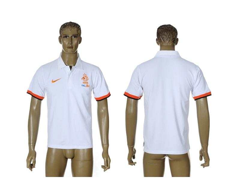 Netherlands White Soccer Polo Shirt