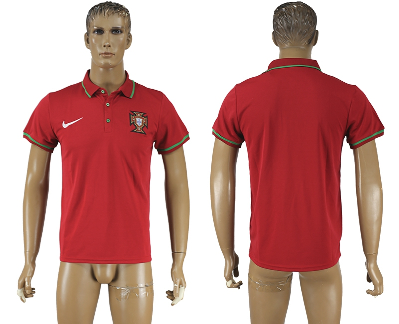 Portugal Red Soccer Polo Shirt