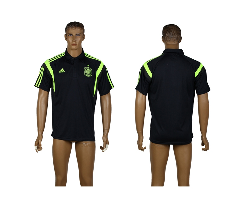 Spain Black Soccer Polo Shirt