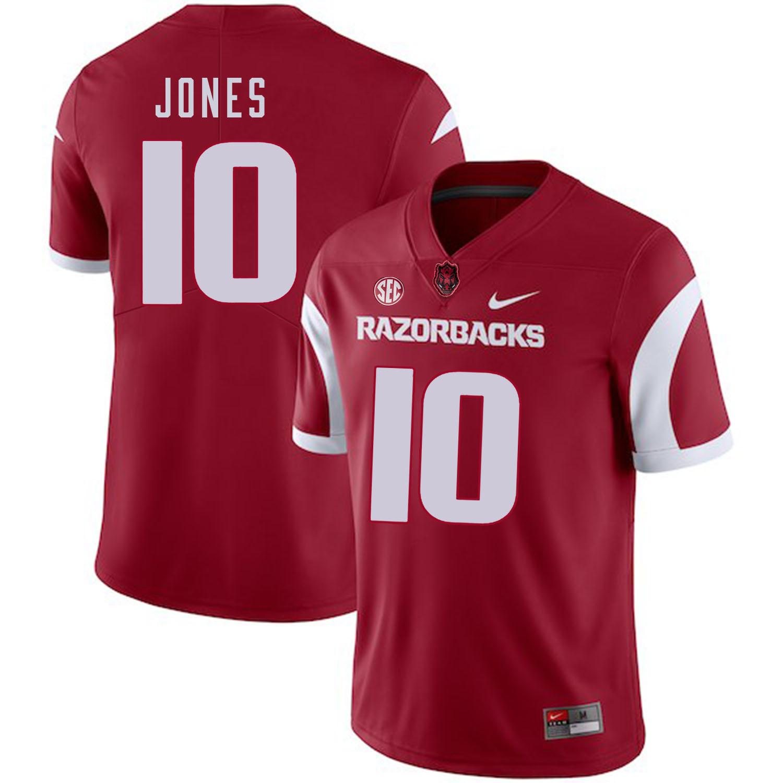 Arkansas Razorbacks 10 Jordan Jones Red College Football Jersey