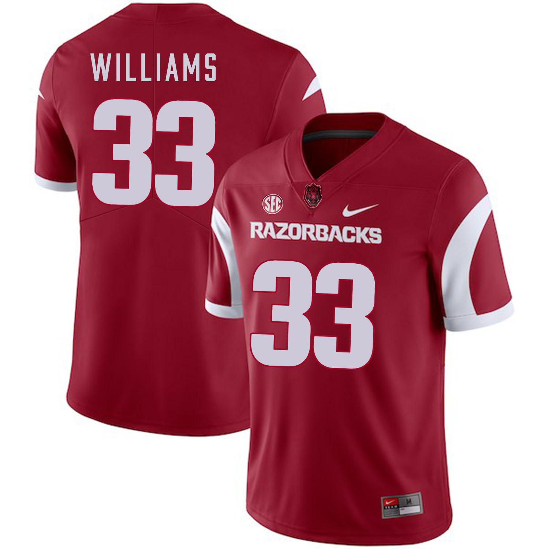 Arkansas Razorbacks 33 David Williams Red College Football Jersey
