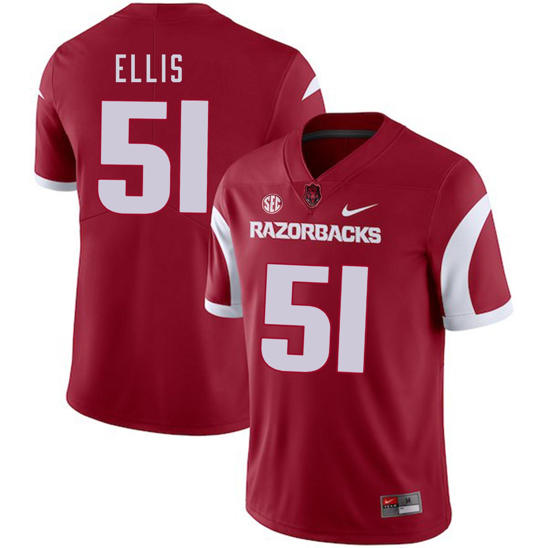 Arkansas Razorbacks 51 Brooks Ellis Red College Football Jersey