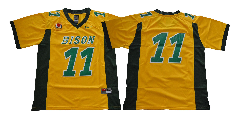 North Dakota State Bison #11 Yellow College Football Jersey