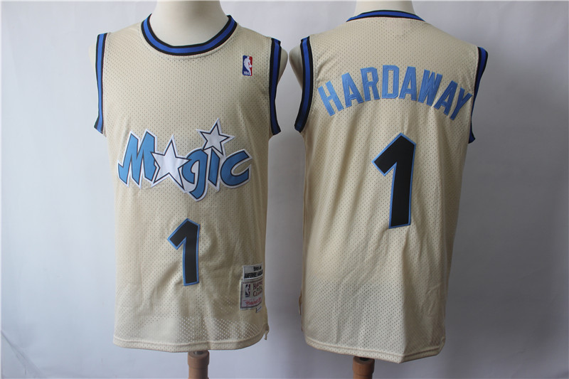 Magic 1 Penny Hardaway Cream Hardwood Classics Jersey