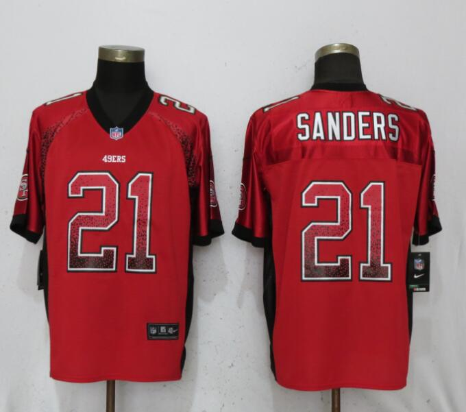 Nike 49ers 21 Deion Sanders Red Drift Fashion Elite Jersey