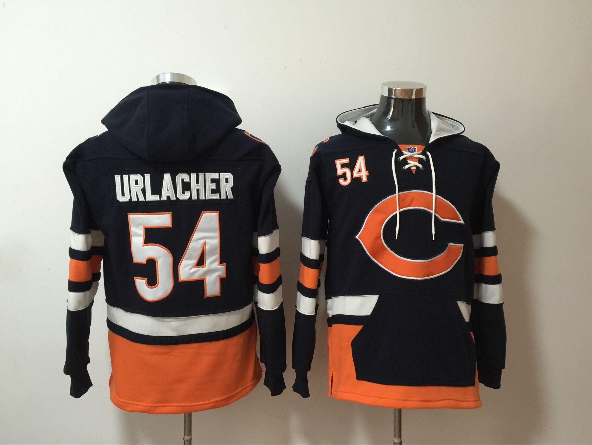 Nike Bears 54 Brian Urlacher Navy All Stitched Hooded Sweatshirt