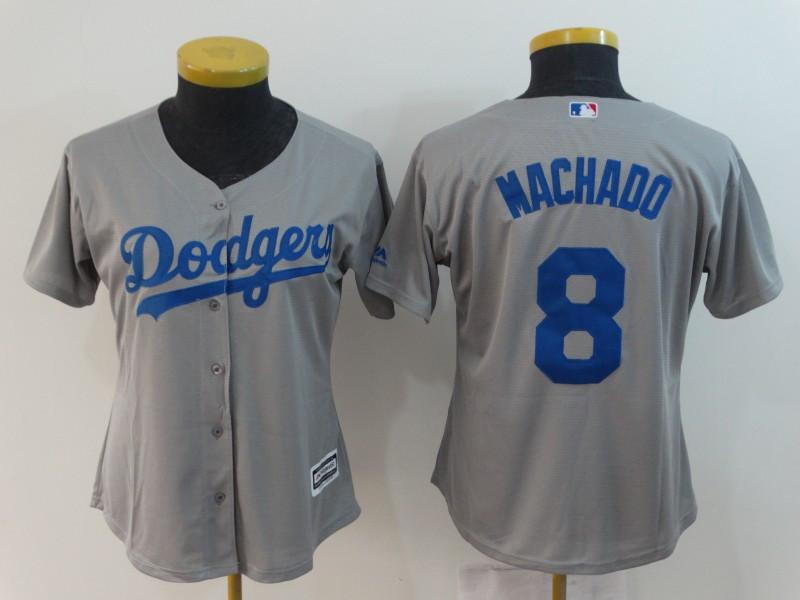 Dodgers 8 Manny Machado Gray Women Cool Base Jersey