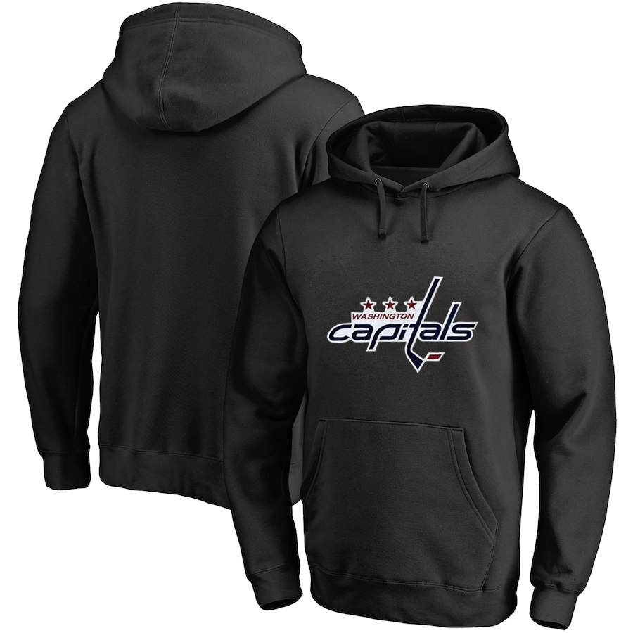 Washington Capitals Black All Stitched Pullover Hoodie