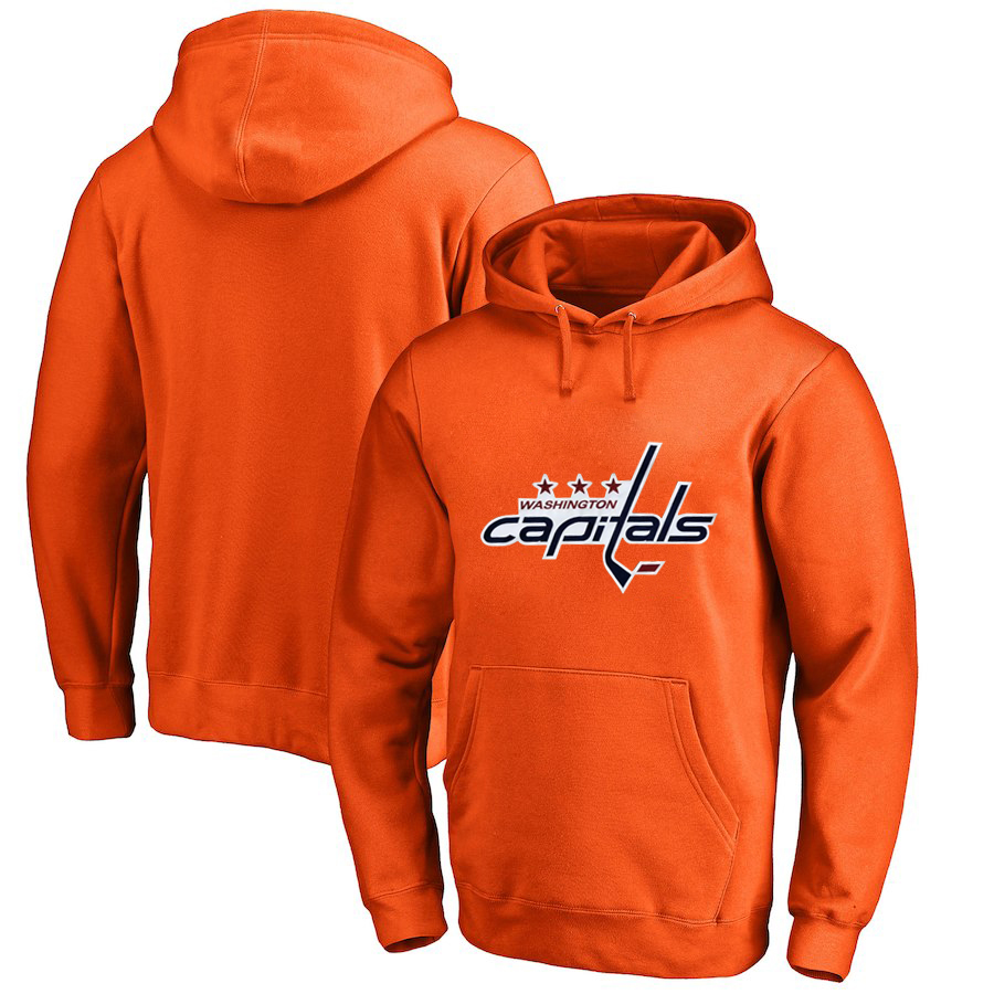 Washington Capitals Orange All Stitched Pullover Hoodie