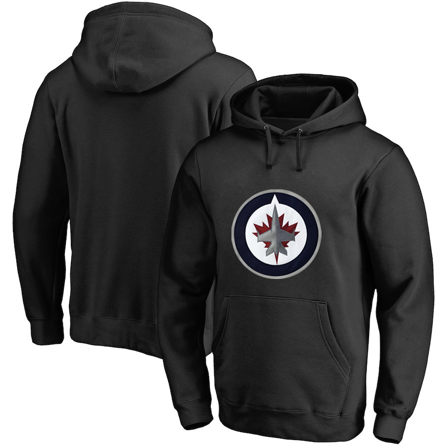 Winnipeg Jets Black All Stitched Pullover Hoodie