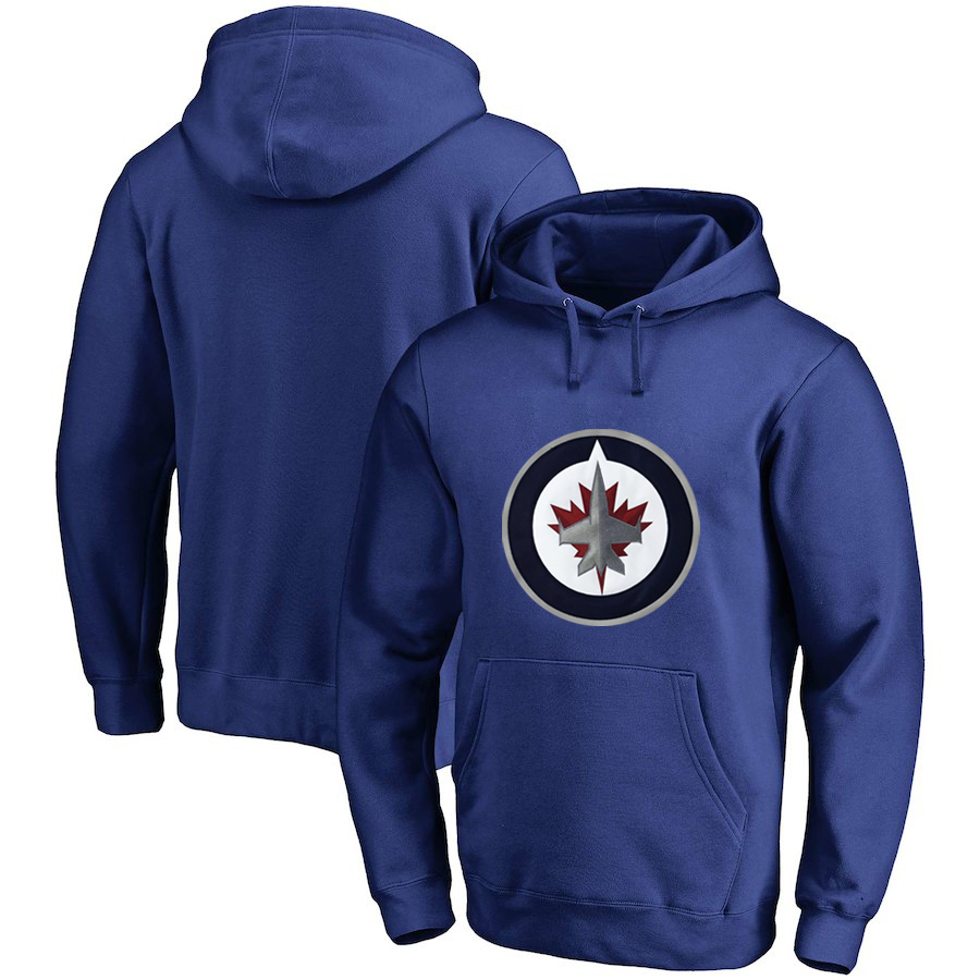 Winnipeg Jets Blue All Stitched Pullover Hoodie
