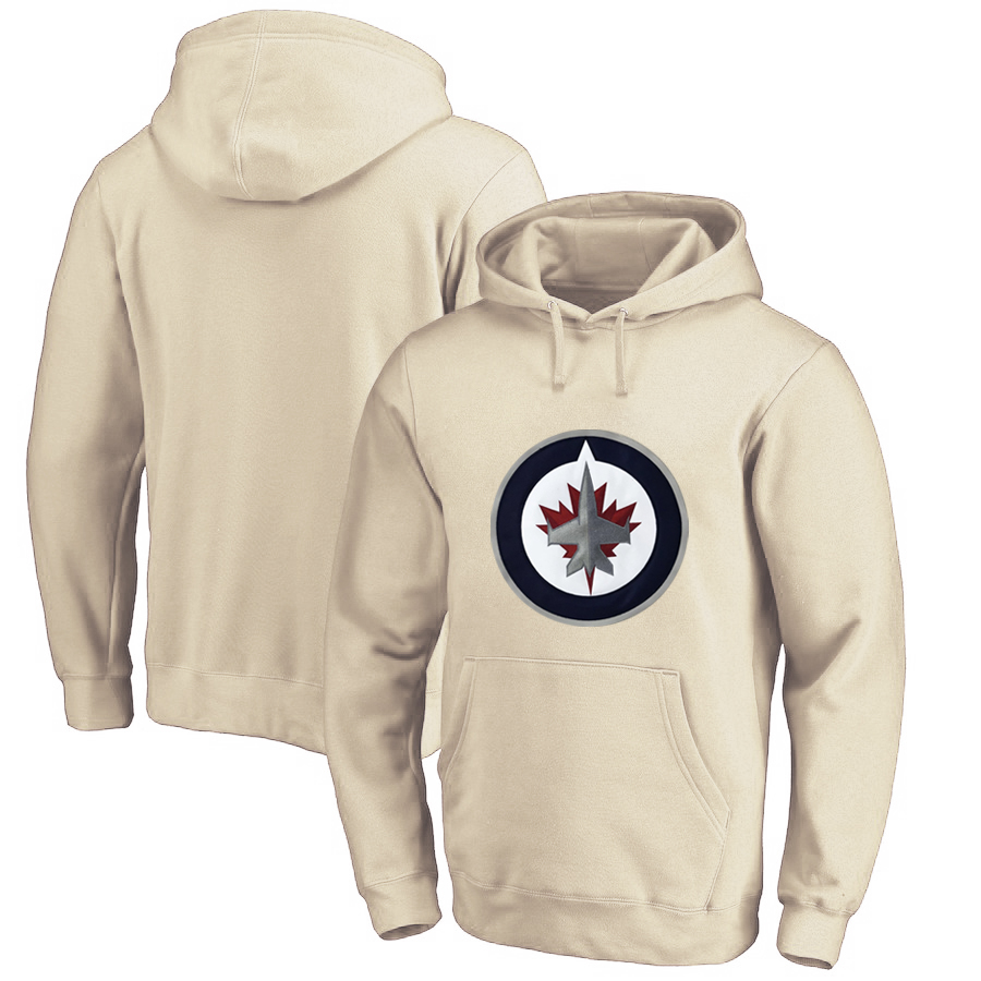 Winnipeg Jets Cream All Stitched Pullover Hoodie