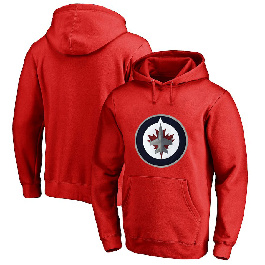 Winnipeg Jets Red All Stitched Pullover Hoodie