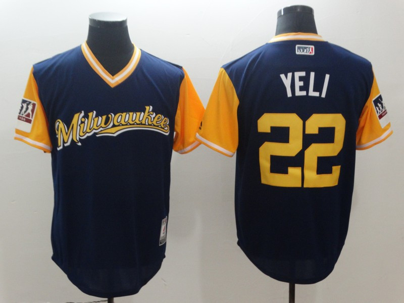 Brewers 22 Christian Yelich Yeli Navy 2018 Players' Weekend Authentic Team Jersey