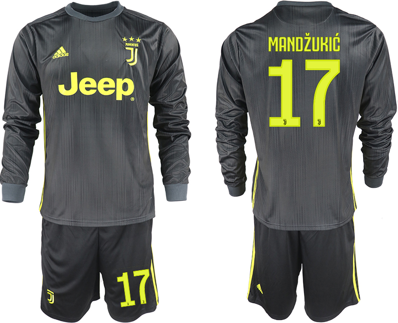 2018-19 Juventus 17 MANDZUKIC Third Away Long Sleeve Soccer Jersey