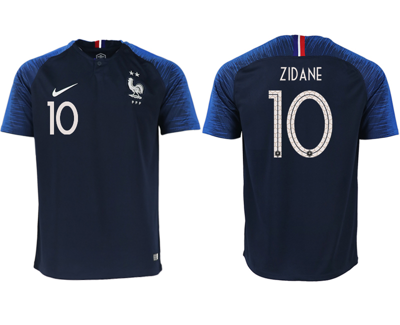 France 10 ZIDANE Home 2018 FIFA World Cup Thailand Soccer Jersey
