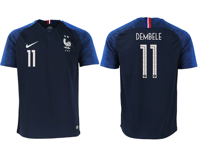 France 11 DEMBELE Home 2018 FIFA World Cup Thailand Soccer Jersey
