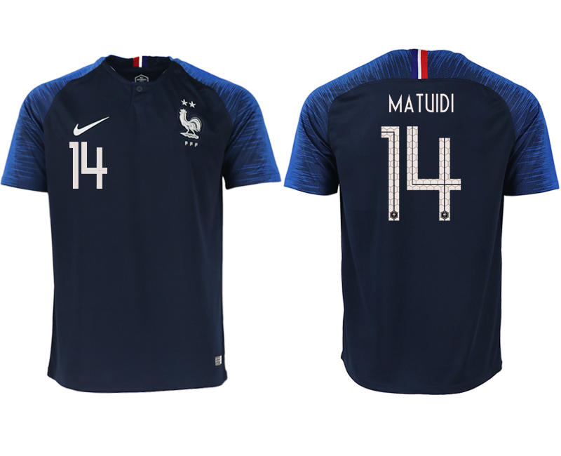 France 14 MATUIDI Home 2018 FIFA World Cup Thailand Soccer Jersey