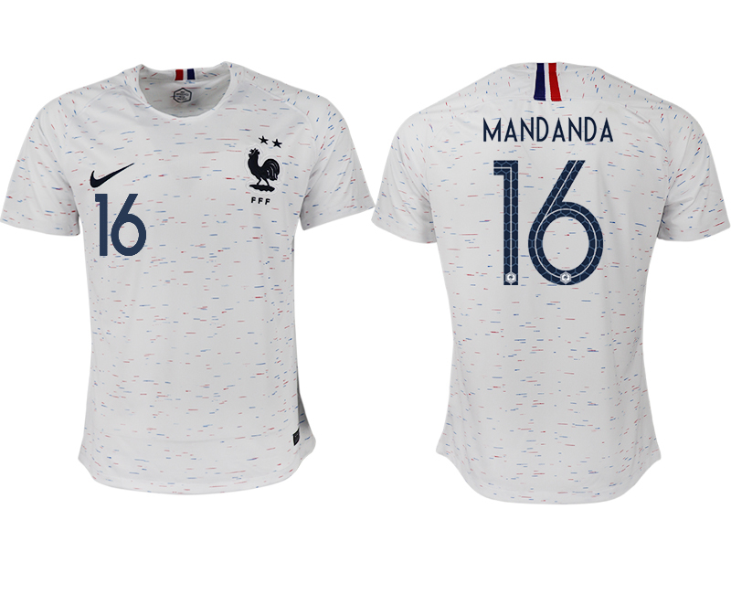 France 16 MANDANDA Away 2018 FIFA World Cup Thailand Soccer Jersey