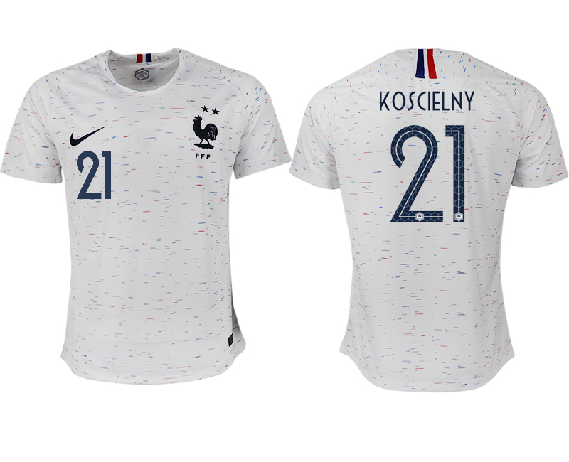 France 21 KOSCIELNY Away 2018 FIFA World Cup Thailand Soccer Jersey