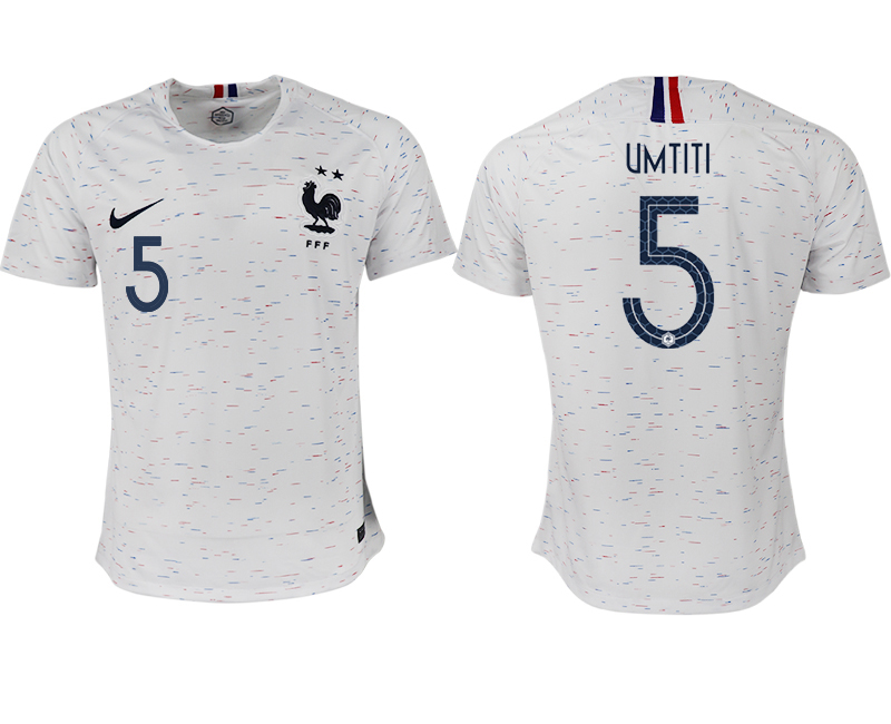 France 5 UMTITI Away 2018 FIFA World Cup Thailand Soccer Jersey